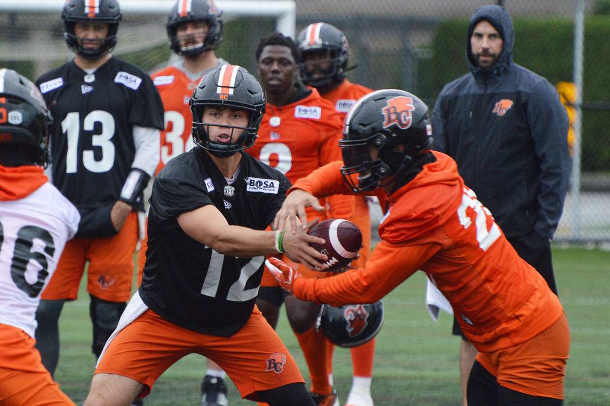 BC Lions players practise at the football team's Surrey facility on Monday (Aug. 16, 2021). The CFL squad will play a home game Thursday night (Aug. 19) at BC Place, for the first time in nearly two years. (Photo: Tom Zillich)