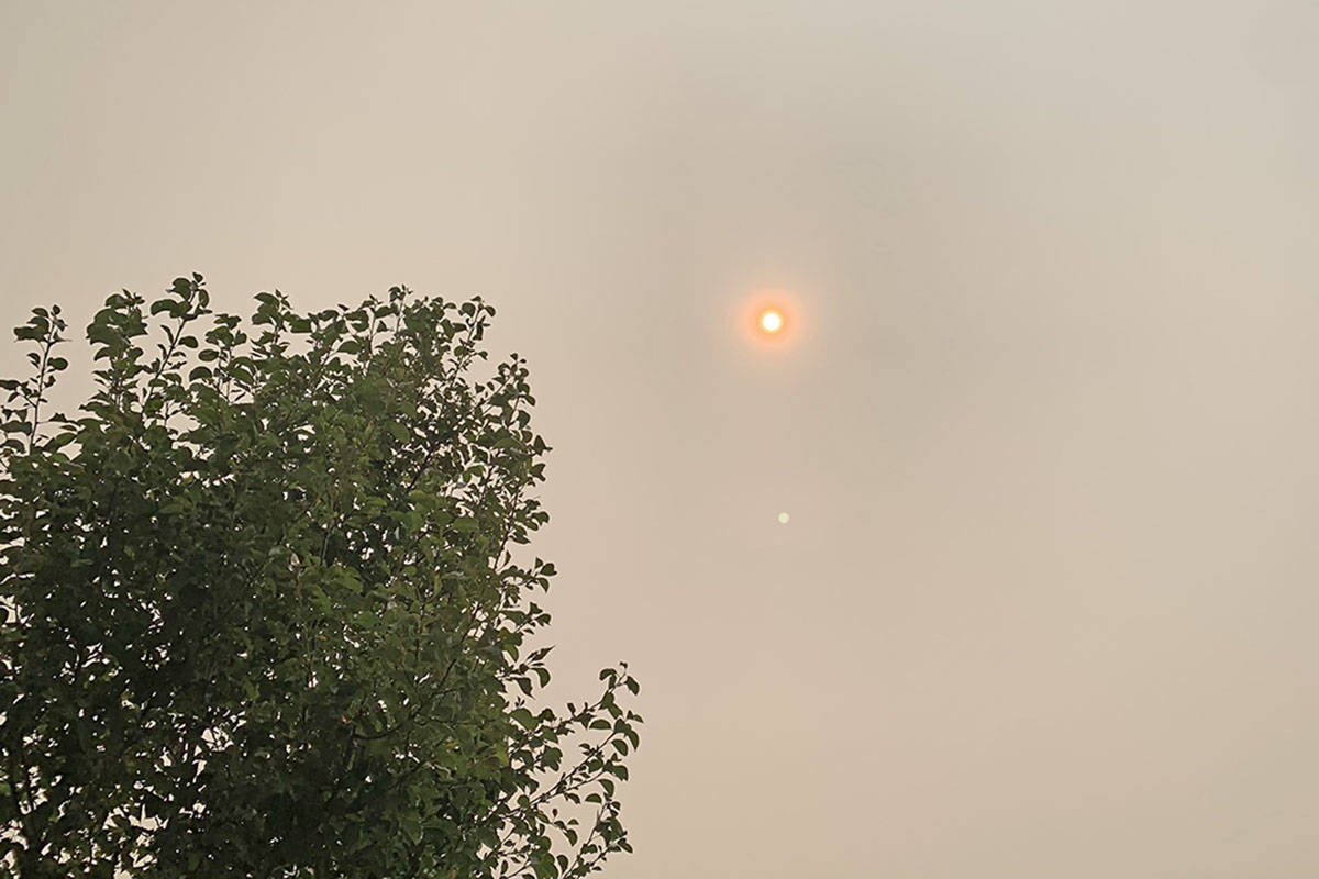 Xinguang Yang was staying with family in Willoughby and took photos of the sky. The smoky views have prompted concerns about pollution. (Xinguang Yang/Special to the Langley Advance)