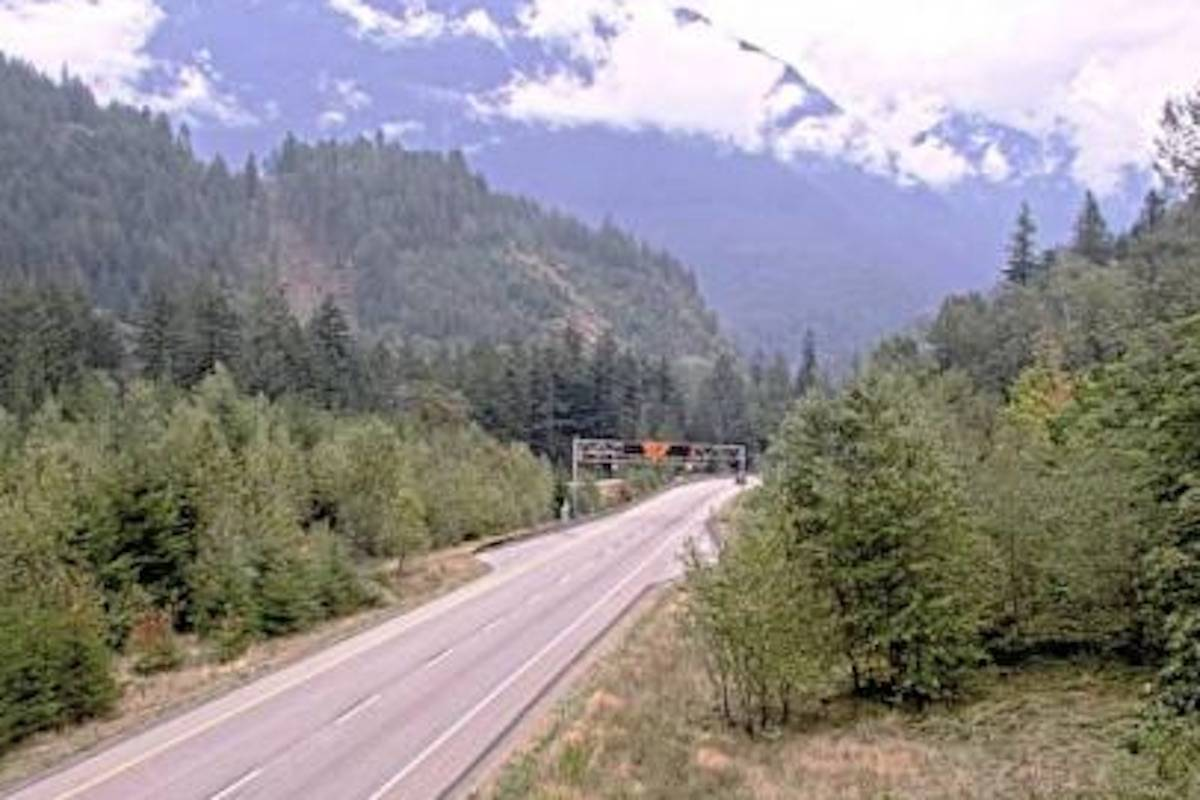 Highway 5 at Othello, about 11 km east of Hope. (DriveBC)
