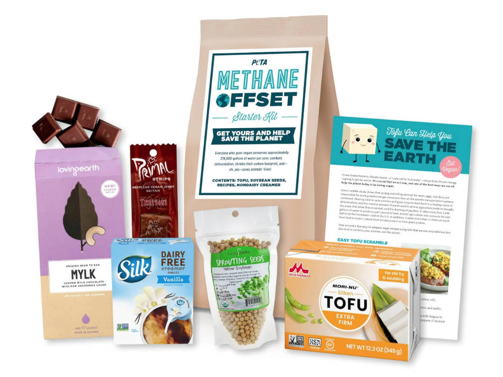 PETA's 'methane offset starter kit' being distributed in cities in B.C. and the United States that have been burned or threatened by wildfires. (Image courtesy PETA)