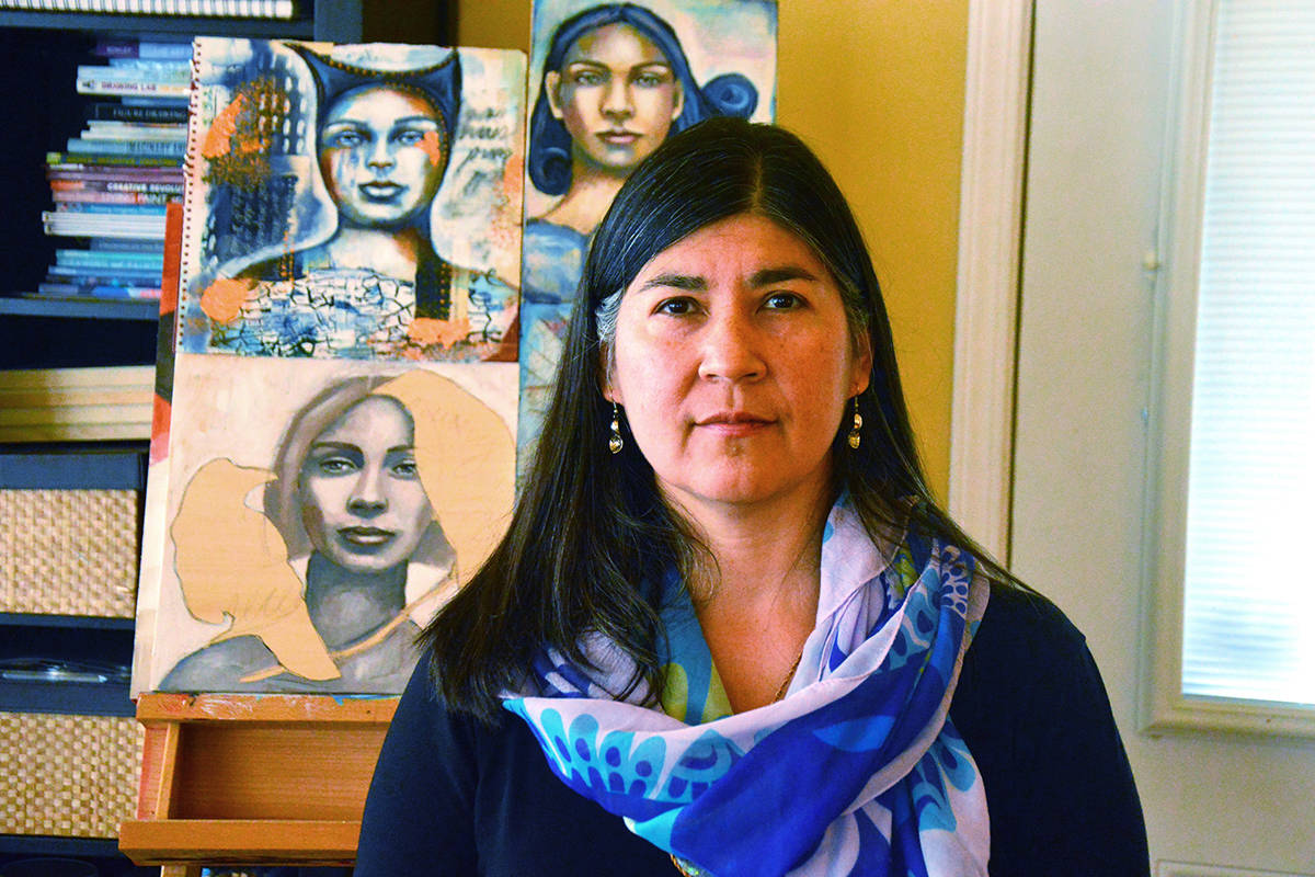 Melanie Rivers, whose ancestral name is Tiyaltelwet, is the Squamish Nation artist behind the report's cover art, poem and dedication. (Katya Slepian/Black Press Media)