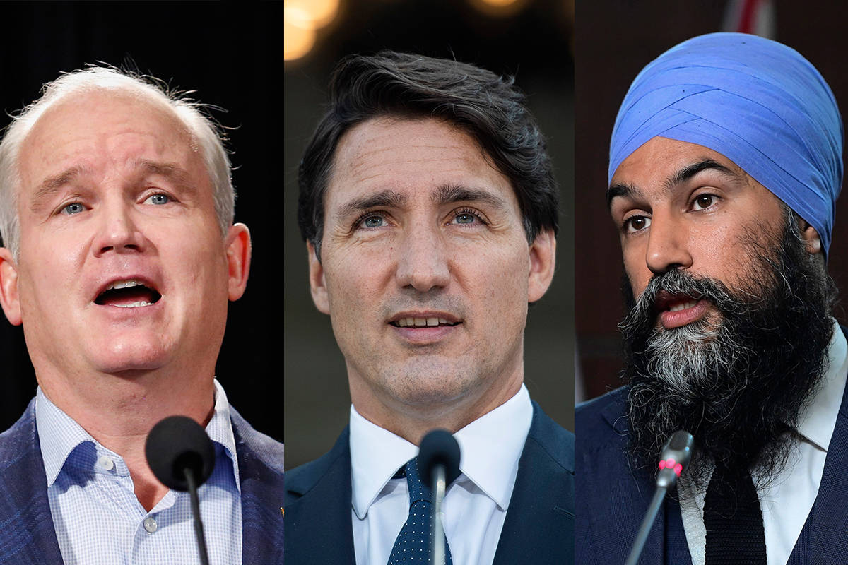 Conservatives Leader Erin O'Toole, Liberal Leader Justin Trudeau and NDP Leader Jagmeet Singh will be among five party leaders vying for power during the federal election on Sept. 20, 2021. (The Canadian Press)