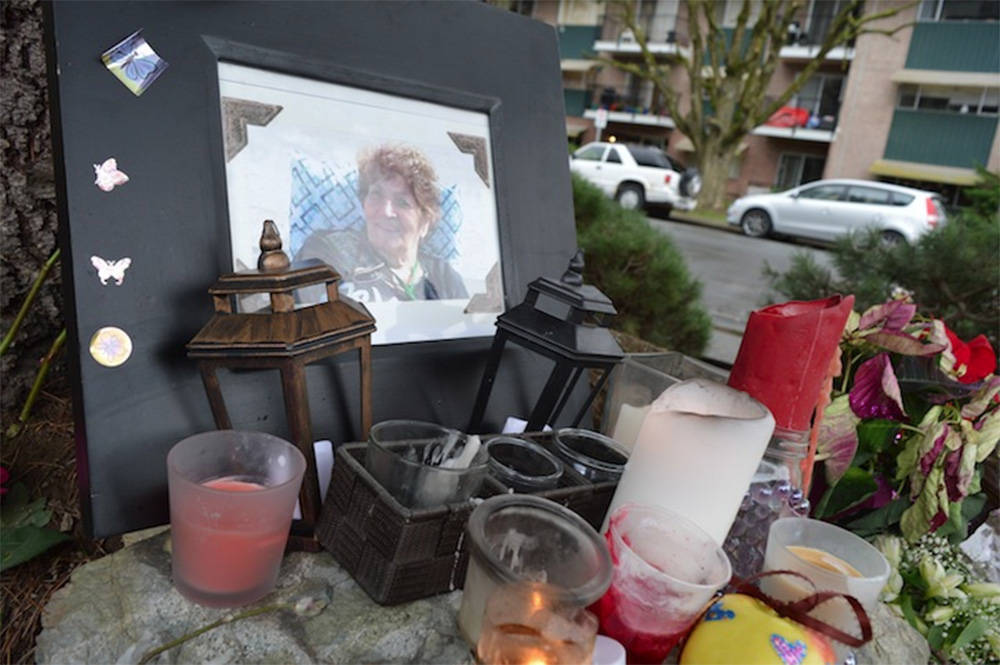 A roadside memorial at Mary Street and Patten Avenue in Chilliwack in December 2016 near where 78-year-old Fourghozaman Firoozian was killed by a hit-and-run driver. (Jennifer Feinberg/Chilliwack Progress file)