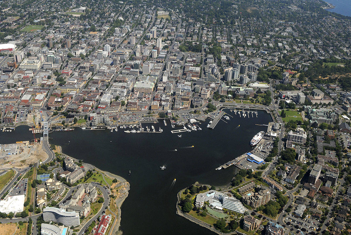 An aerial view over downtown Victoria and the Inner Harbour. In July 2021, the average monthly cost of a one-bedroom rental in Greater Victoria was $1,756, according to Rentals.ca. (Black Press Media file photo)
