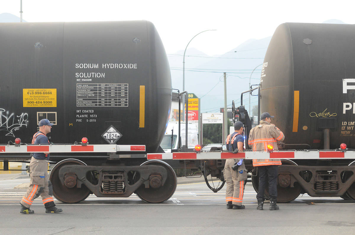 Emergency crews are on scene at the railway crossing on Young Road for a pedestrian who was reportedly struck by a train in Chilliwack on Thursday, Aug. 19. (Jenna Hauck/ Chilliwack Progress)