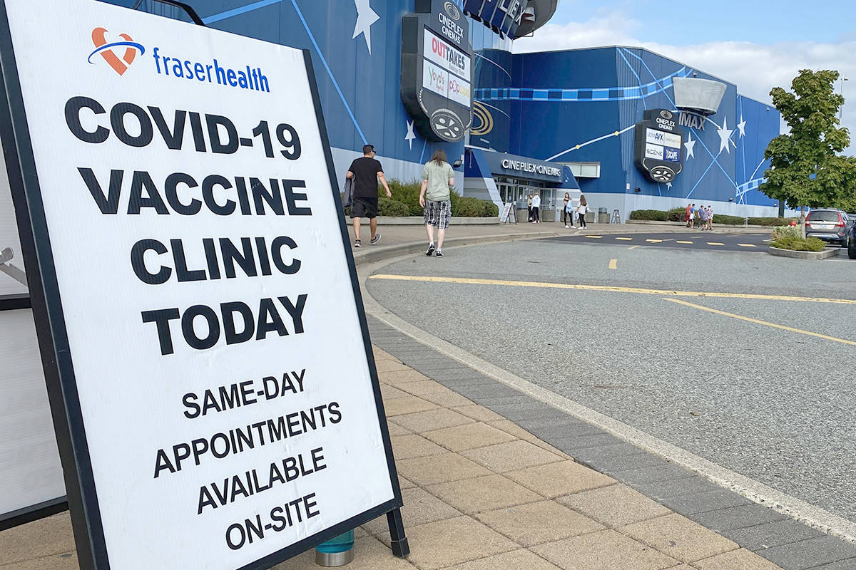 People going to the Colussus Cineplex theatre in Langley had a chance to get their first or second vaccinations for COVID-19 at a pop-up clinic that runs until 7 p.m. today (Thursday, Aug. 19) (Joti Grewal/Langley Advance Times)