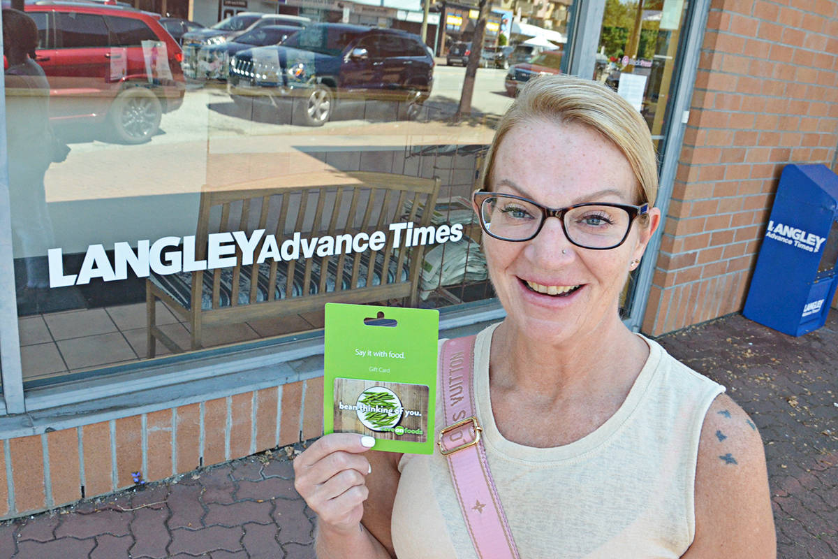 Belinda Jaster won the draw for a $250 Save-On-Foods gift card for participating in the 2021 Readers' Choice Awards. (Heather Colpitts/Langley Advance Times)