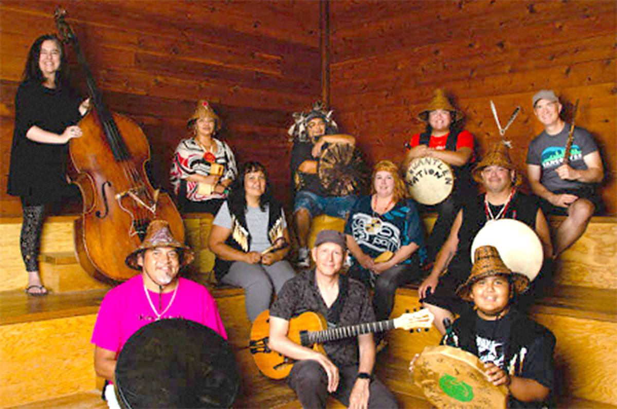 A Kwantlen First Nations group called Stomi:x Shweli (Warrior Spirit) will be highlighted in a free virtual concert being offered in conjunction with the Fort Langley Jazz & Arts Festival early next month. (Special to Langley Advance Times)