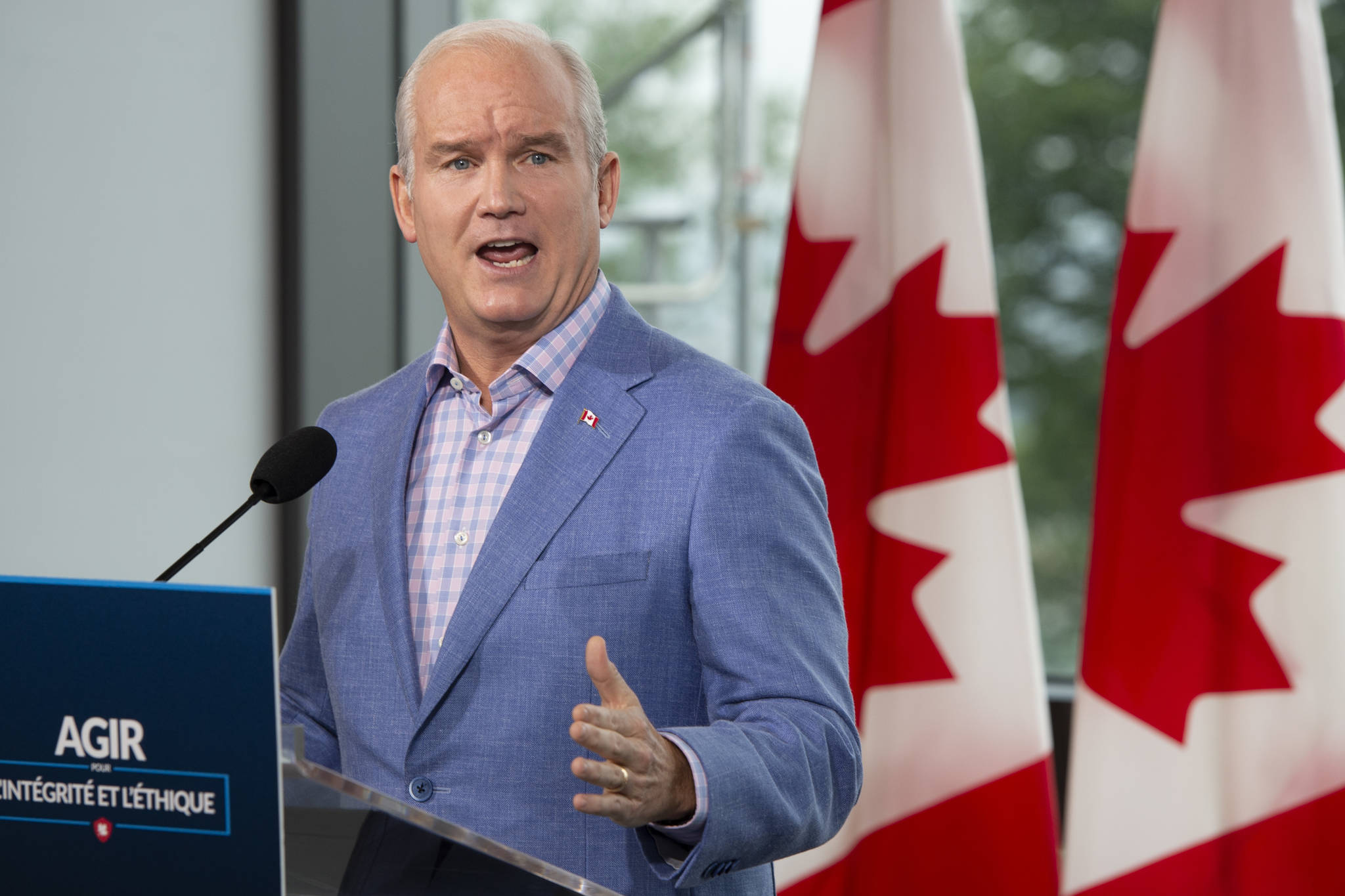 Conservative Leader Erin O'Toole speaks to the media Wednesday, August 18, 2021 in Quebec City. Canadians will vote in a federal election Sept. 20th.THE CANADIAN PRESS/Ryan Remiorz
