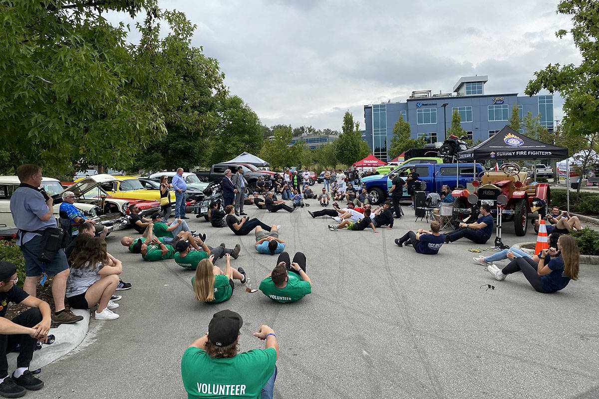 2021 Ride to Recovery made a pit stop at Barnes Harley Davidson in Langley on Aug. 19, 2021, where attendees participated in several meditative exercises. The event was held in an effort to raise awareness about PTSD. (Joti Grewal/Langley Advance Times)