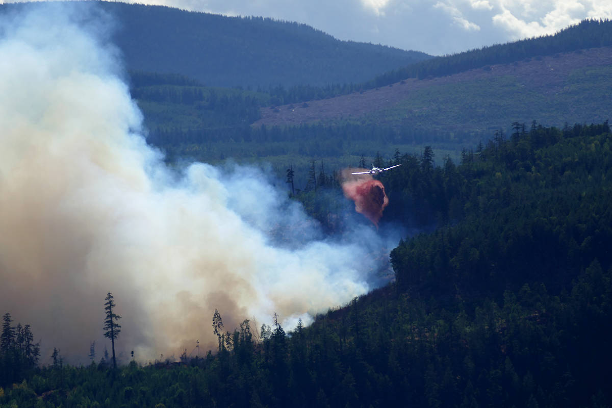 B.C. Wildfire Service crews battle a fire close to Mt. Hayes near Ladysmith. (Photo submitted)