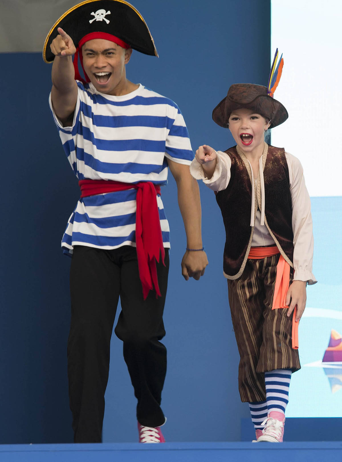 """Surrey's Josh Lalisan, left, and Emma Hader of Maple Ridge, right, perform in the """"Bones and Scully, 'Tis Fun to be a Pirate"""" show on the PNE Fair's BCAA ToonCity stage. The show runs three times daily, and is free with admission to the Fair. (Photo courtesy PNE/Craig Hodge)"""