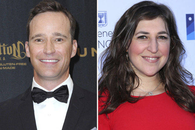 This combination photo shows Mike Richards, left, in the pressroom at the 43rd annual Daytime Emmy Awards on May 1, 2016, in Los Angeles and Mayim Bialik at a Celebration of the 70th Anniversary of Israel on June 10, 2018, in Los Angeles