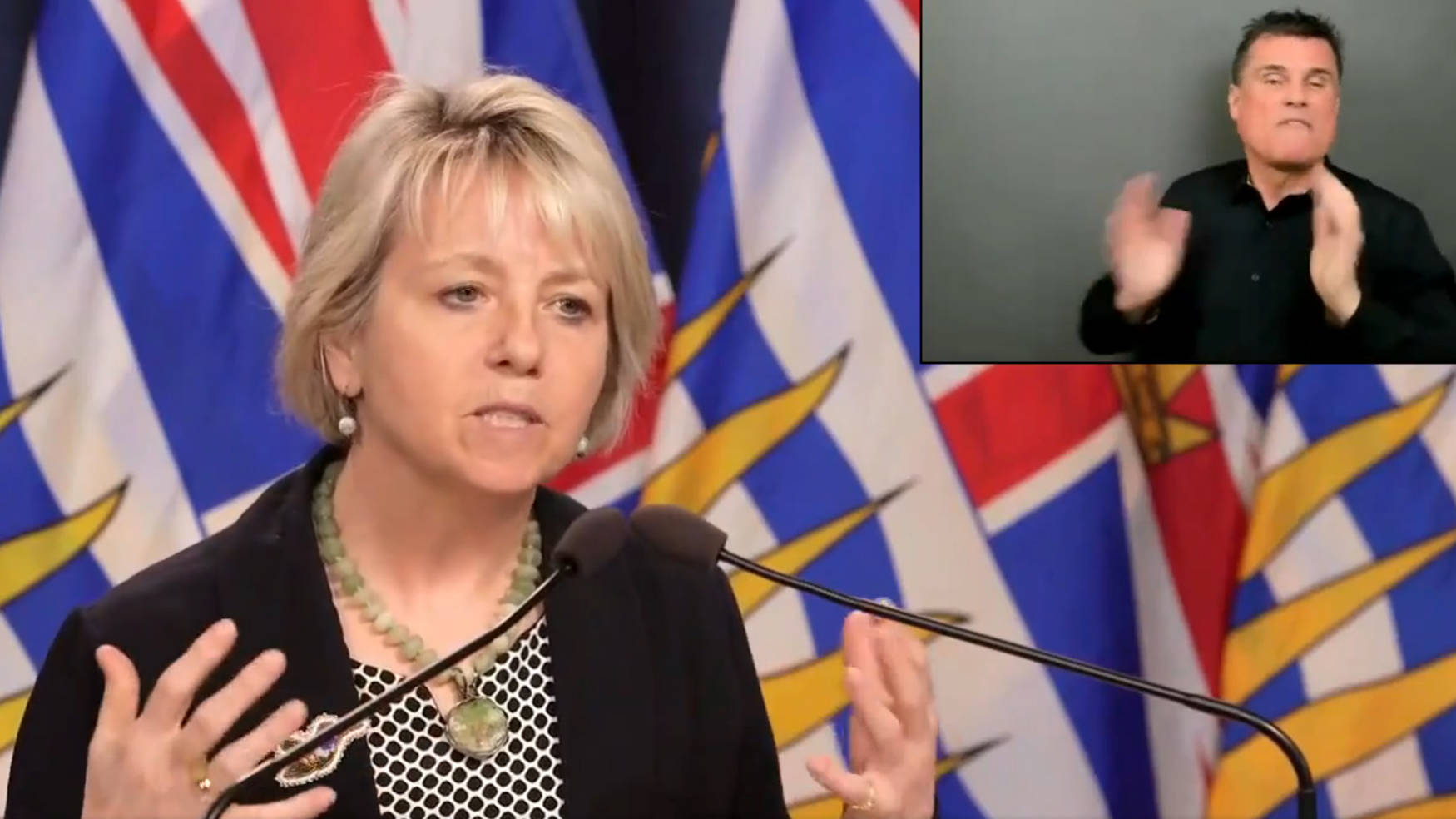 B.C. provincial health officer Dr. Bonnie Henry speaks at a press conference Monday, April 18. (B.C. Government image)
