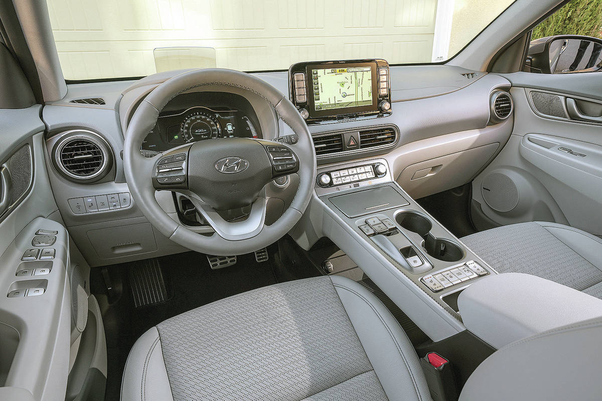 The Kona Electric's controls are super easy to use, although the silver on the centre console creates a lot of glare that makes the buttons difficult to see. PHOTO: HYUNDAI