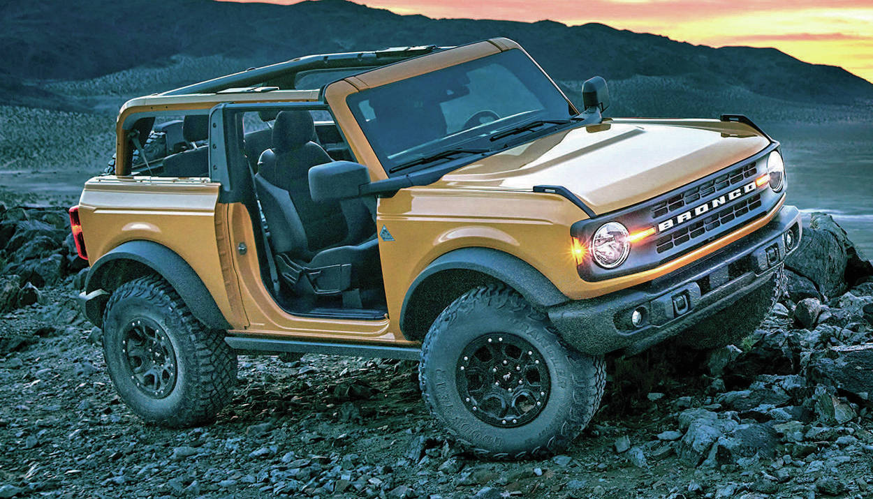 Ford has upped the power levels of the four- and six-cylinder engines for the upcoming Bronco. Max is 330 horses. PHOTO: FORD