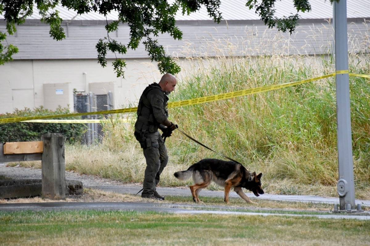 Surrey RCMP is investigating a shooting in Newton Friday evening (Aug. 20, 2021). At 5:41 p.m. Friday, police responded to a report of shots fired in the 13700-block of 70 Avenue. (Photo: Curtis Kreklau)