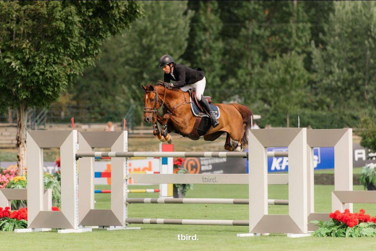 Conor Swail and Theo 160 won the $37,000 George & Dianne Tidball Legacy at the tbird Summer Fort Classic in Langley. (Quinn Saunders/tbird)