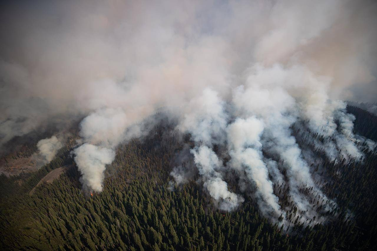 The White Rock Lake wildfire burns west of Vernon, B.C., Thursday, Aug. 12, 2021. The Kamloops region continues to see the majority of blazes, with the White Rock Lake fire continuing to burn out of control. THE CANADIAN PRESS/Darryl Dyck