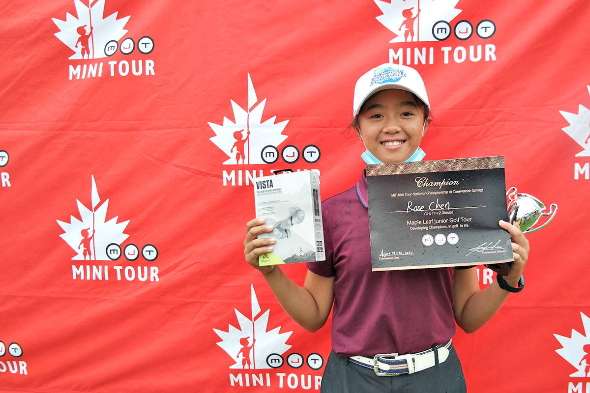 Langley's Rose Chen took top honours and punched her ticket to the national championship as Canada's major finale for 12U golfers crowned six Maple Leaf Junior (MJT) Mini Tour National Champions at the Tsawwassen Springs course in Delta. (MJT)