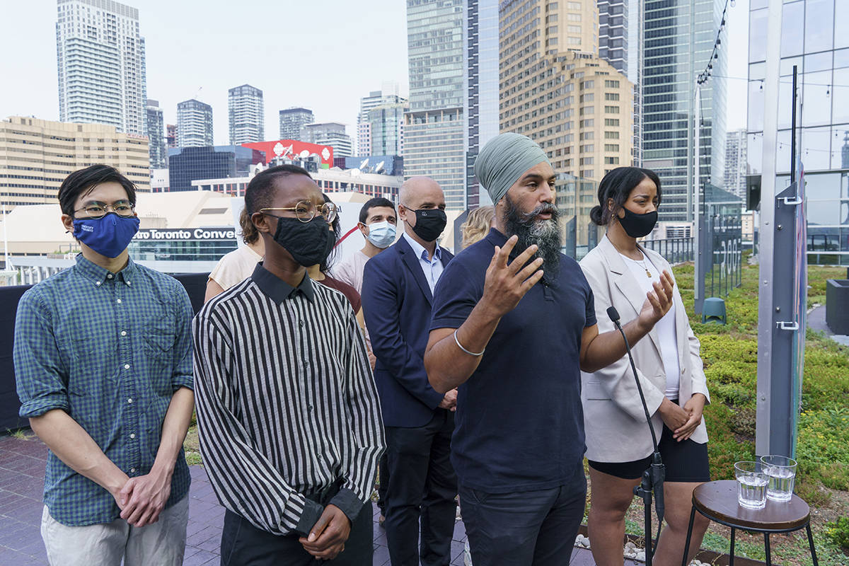NDP Leader Jagmeet Singh responds to questions during a news conference in Toronto, Saturday, Aug. 21, 2021. THE CANADIAN PRESS/Paul Chiasson