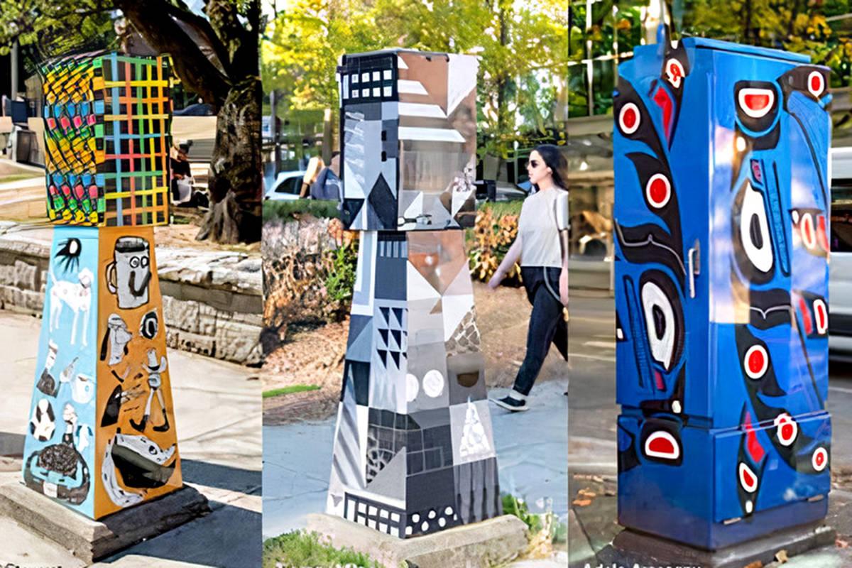Some examples of decorative wraps on utility kiosks. (TOL graphic)