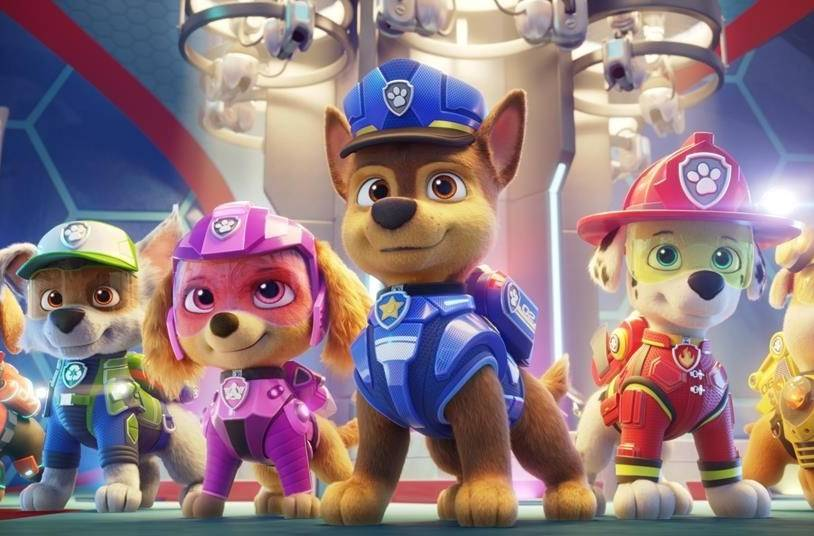 """Zuma (voiced by Shayle Simons), left to right, Rocky (voiced by Callum Shoniker), Skye (voiced by Lilly Bartlam), Chase (voiced by Iain Armitage), Marshall (voiced by Kingsley Marshall), and Rubble (voiced by Keegan Hedley) are seen in a handout still image for the film """"Paw Patrol: The Movie"""" from Paramount Pictures. Many parents will be having a tough talk with their kids to explain why """"Paw Patrol: The Movie"""" isn't available to watch at home in Canada. THE CANADIAN PRESS/HO-Spin Master, *MANDATORY CREDIT*"""