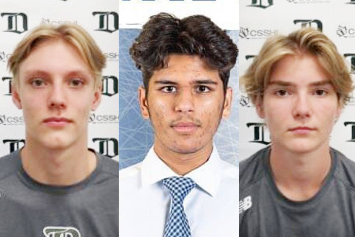 From left, Caleb Reimer, Ronin Sharma and Parker Magnuson were killed in a vehicle collision Saturday morning.