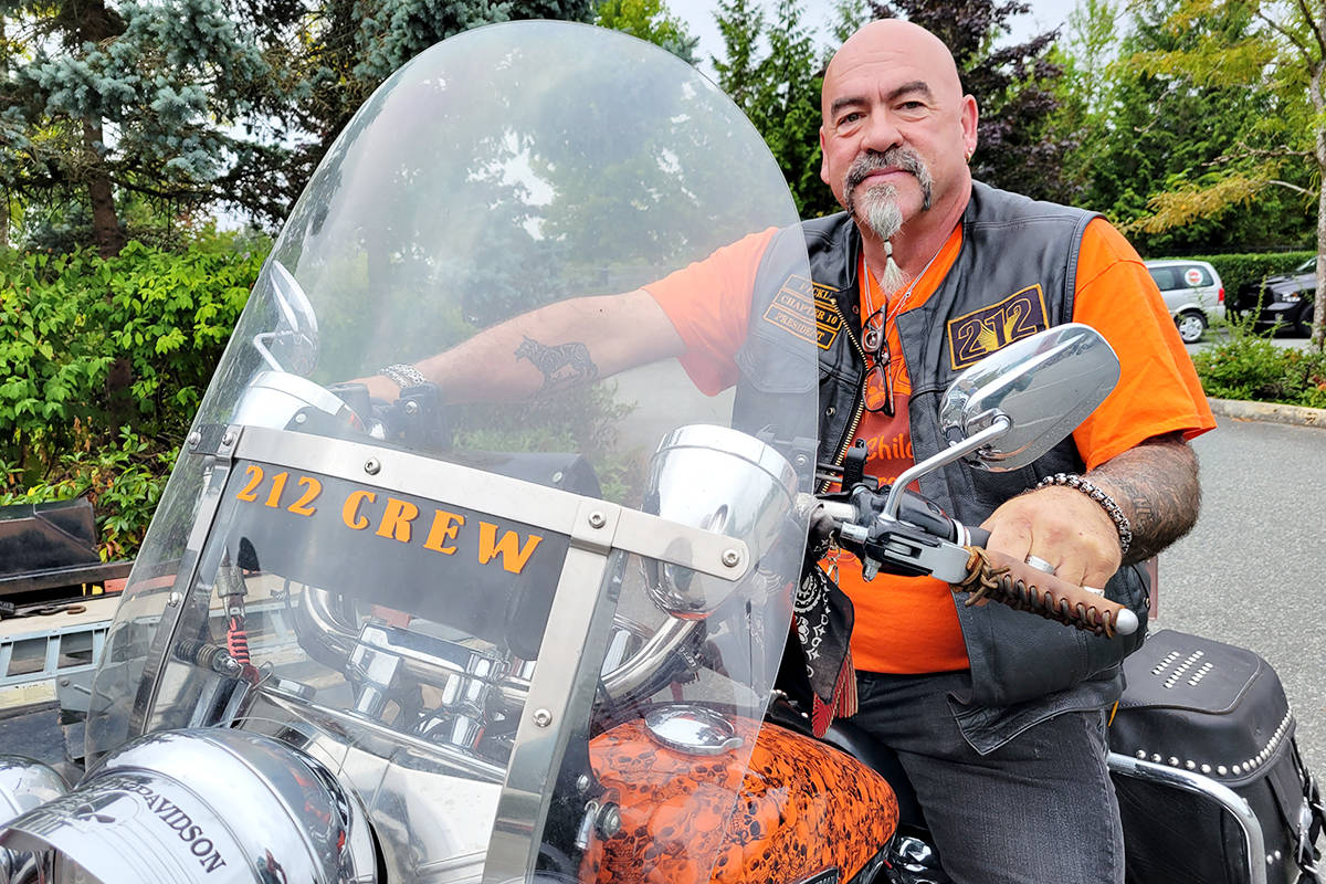 One of the 130 riders who took part in a Bikers Against Bullying ride from Langley to Abbotsford in honour of Matthew Martins, 16, who was killed during an attempted robbery in 2005. (Dan Ferguson/Langley Advance Times)