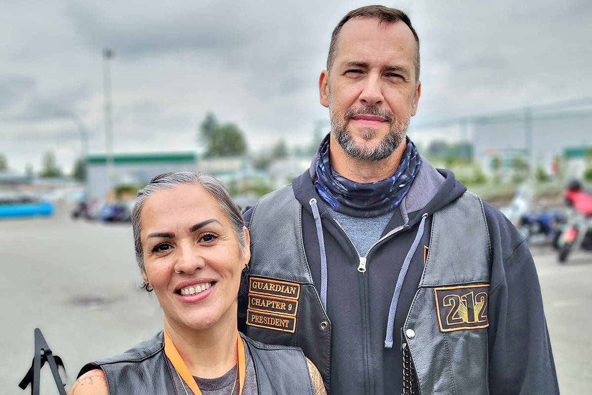 Sandie Martins-Toner and husband David Toner were among 130 riders who took part in a Bikers Against Bullying ride from Langley to Abbotsford in honour of her son Matthew, who was killed during an attempted robbery in 2005. (Dan Ferguson/Langle Advance Times)