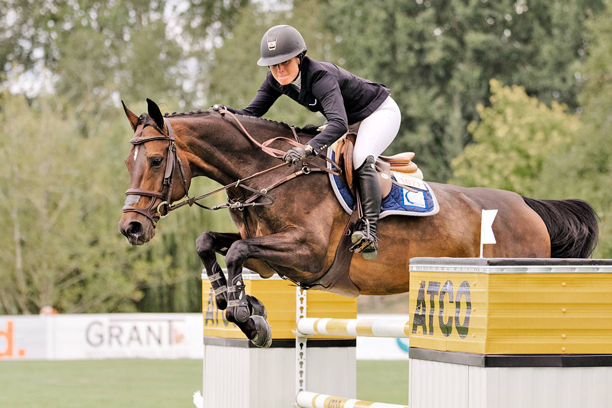 Vanessa Mannix and Catinka 25 won the $100,000 ATCO Cup 1.50m at Thunderbird Show Park's Summer Fort Classic on Sunday, Aug. 22. (Quinn Saunders/tbird)