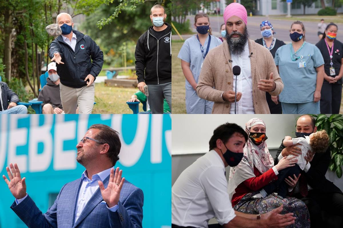 Federal election campaign stops across Canada in the second week of August 2021. (Canadian Press photos)
