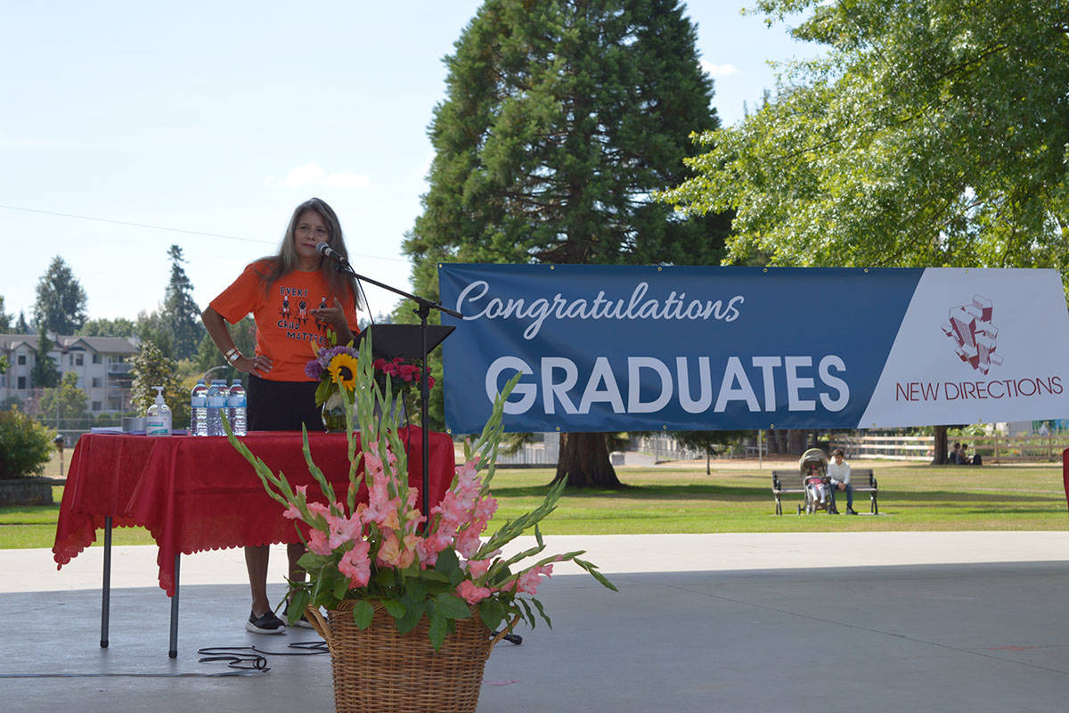 Cecelia Reekie, a member of the Haisla First Nation, spoke to graduating students from New Directions school on Aug. 10, 2021 at Langley City's Douglas Park. (New Directions/Special to Langley Advance Times)