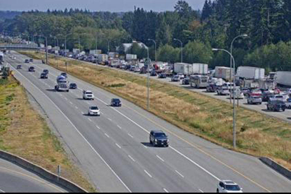 Highway 1 at the 176th Street overpass, looking east on Aug. 23, 2021 around 2:45 p.m. (Drive BC)