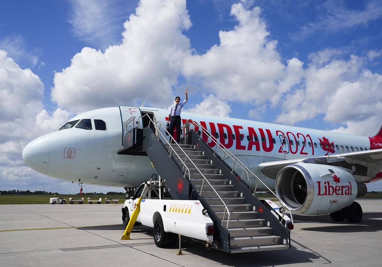 Liberal Leader Justin Trudeau departs Ottawa on Sunday, Aug. 22, 2021, en route to campaign in Atlantic Canada. The main federal party leaders are in central and eastern Canada as the election campaign enters its second full week. THE CANADIAN PRESS/Sean Kilpatrick