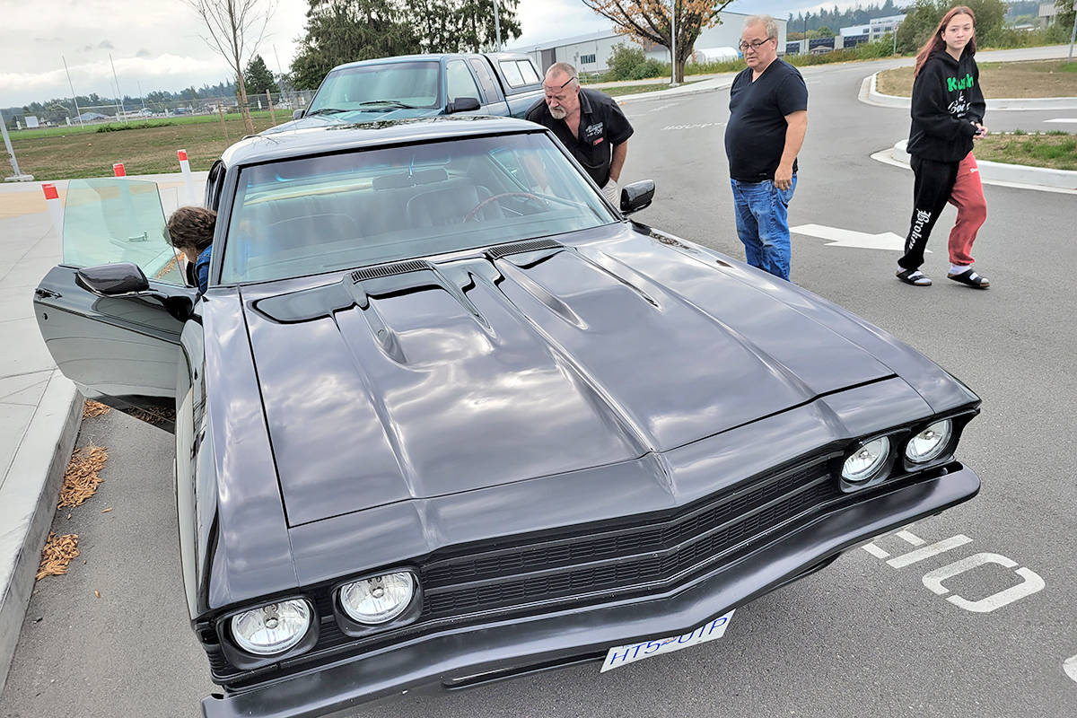 One of the participating vehicles in the annual 'Burnout in the sky' event at the start of the drive in Langley on Sunday, Aug. 22. (Dan Ferguson/Langley Advance Times)