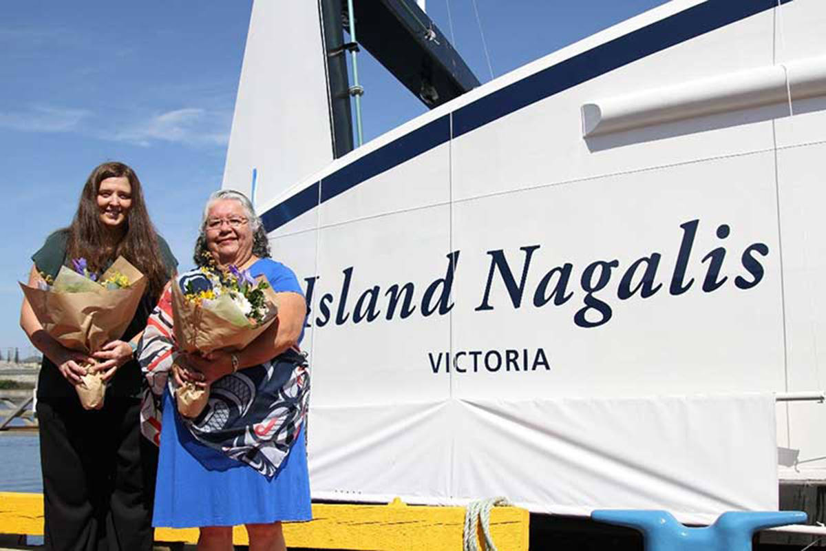 Island Nagalis sponsors: BC Ferries' Strategic Planning Manager Joanne Doyle and Lorraine Henderson from Wei Wai Kum First Nation. BC Ferries photo