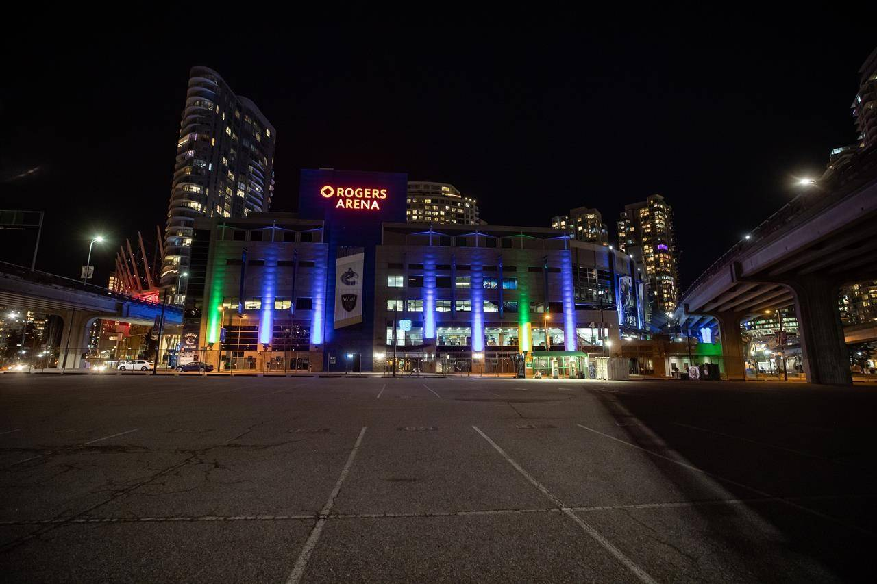 An empty parking lot is seen outside Rogers Arena prior to the start of the Vancouver Canucks and Calgary Flames NHL hockey game in Vancouver, B.C., Thursday, Feb. 11, 2021. THE CANADIAN PRESS/Darryl Dyck