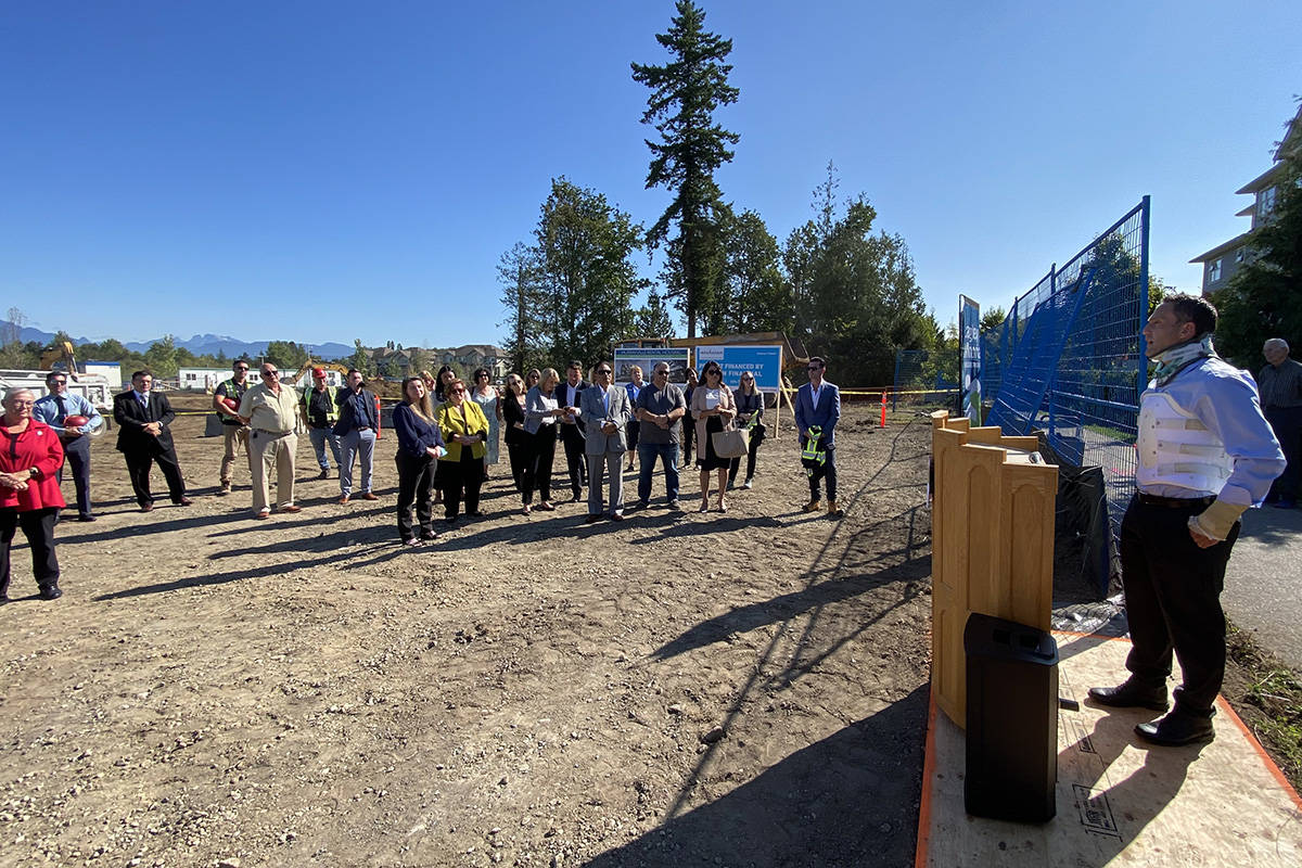 Michael Leggatt, chair of the Langley Hospital Foundation, addressed the crowd ahead of the ground breaking on the seniors housing project in Murrayville on Aug. 24, 2021. (Joti Grewal/Langley Advance Times)