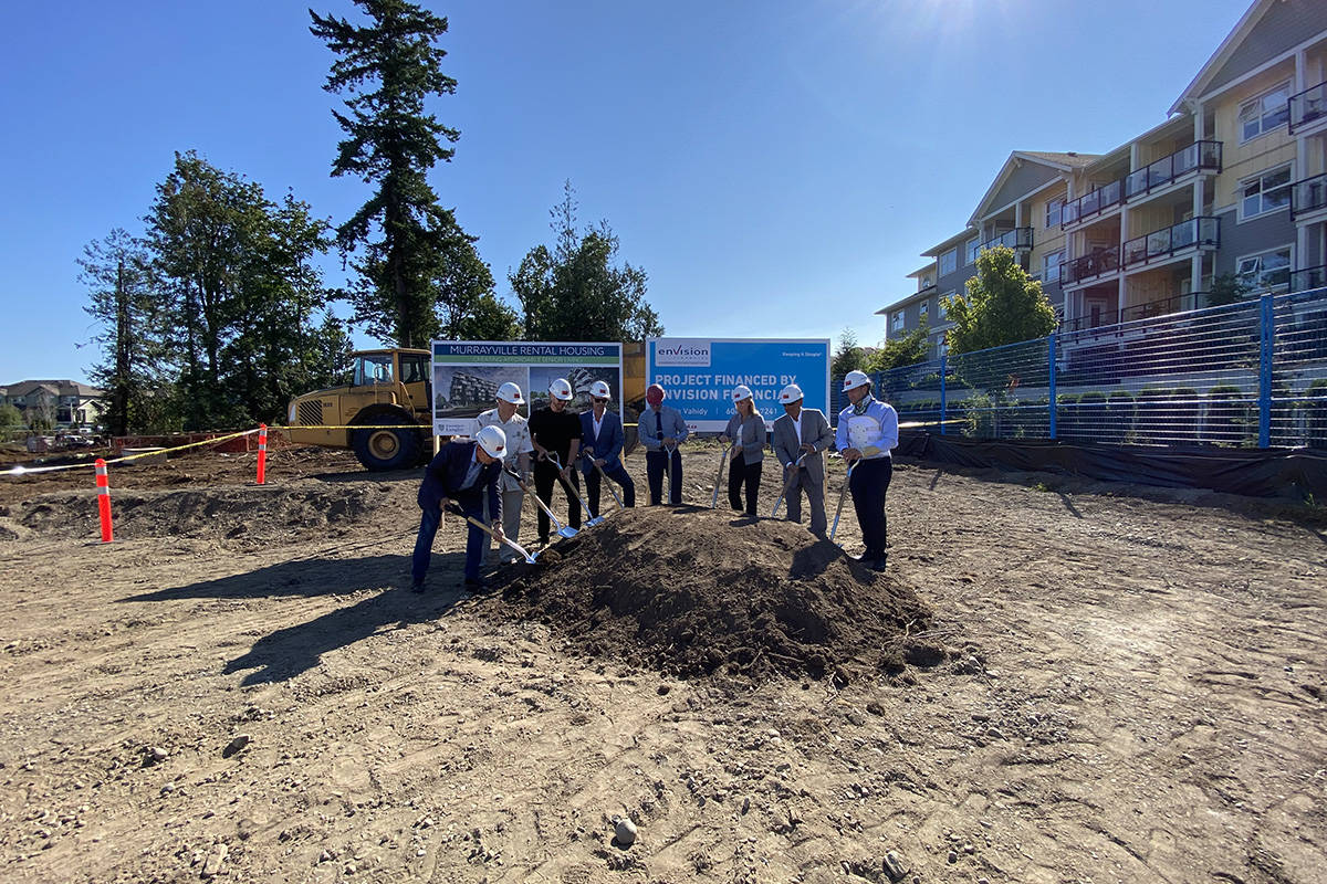 Ground breaking on hospital foundation seniors housing project in Murrayville on Aug. 24, 2021. (Joti Grewal/Langley Advance Times)