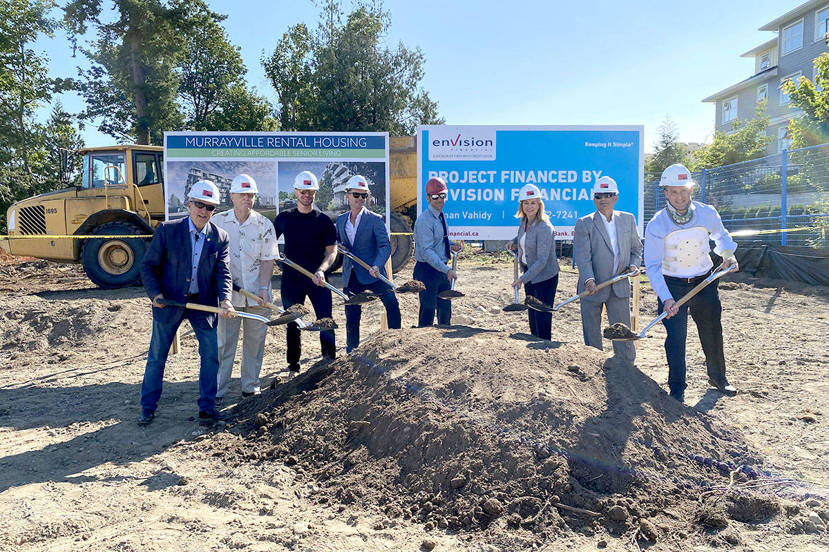 Ground breaking on hospital foundation seniors housing project was in Murrayville on Aug. 24, 2021. (Joti Grewal/Langley Advance Times)