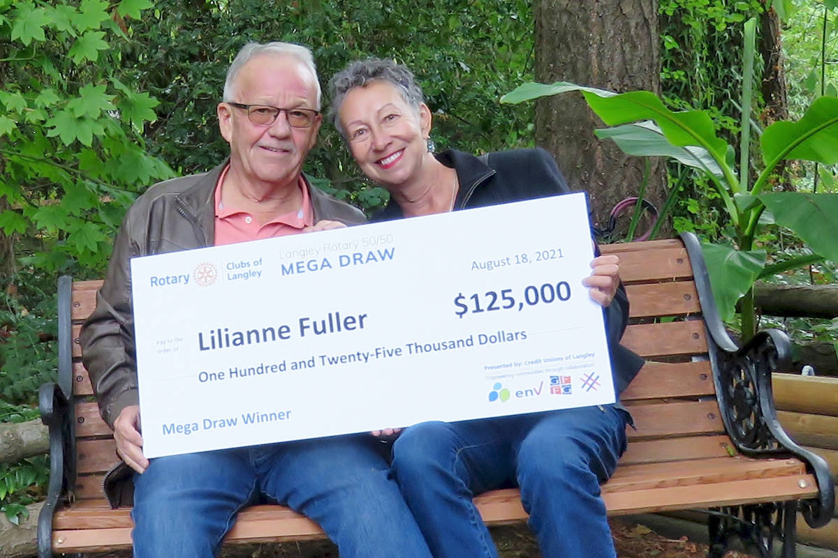 Tony and Lilianne Fuller were shocked to find out they had won the Langley Rotary Mega 50/50 Draw for 2021. (Lilianne Fuller/Special to the Langley Advance Times)