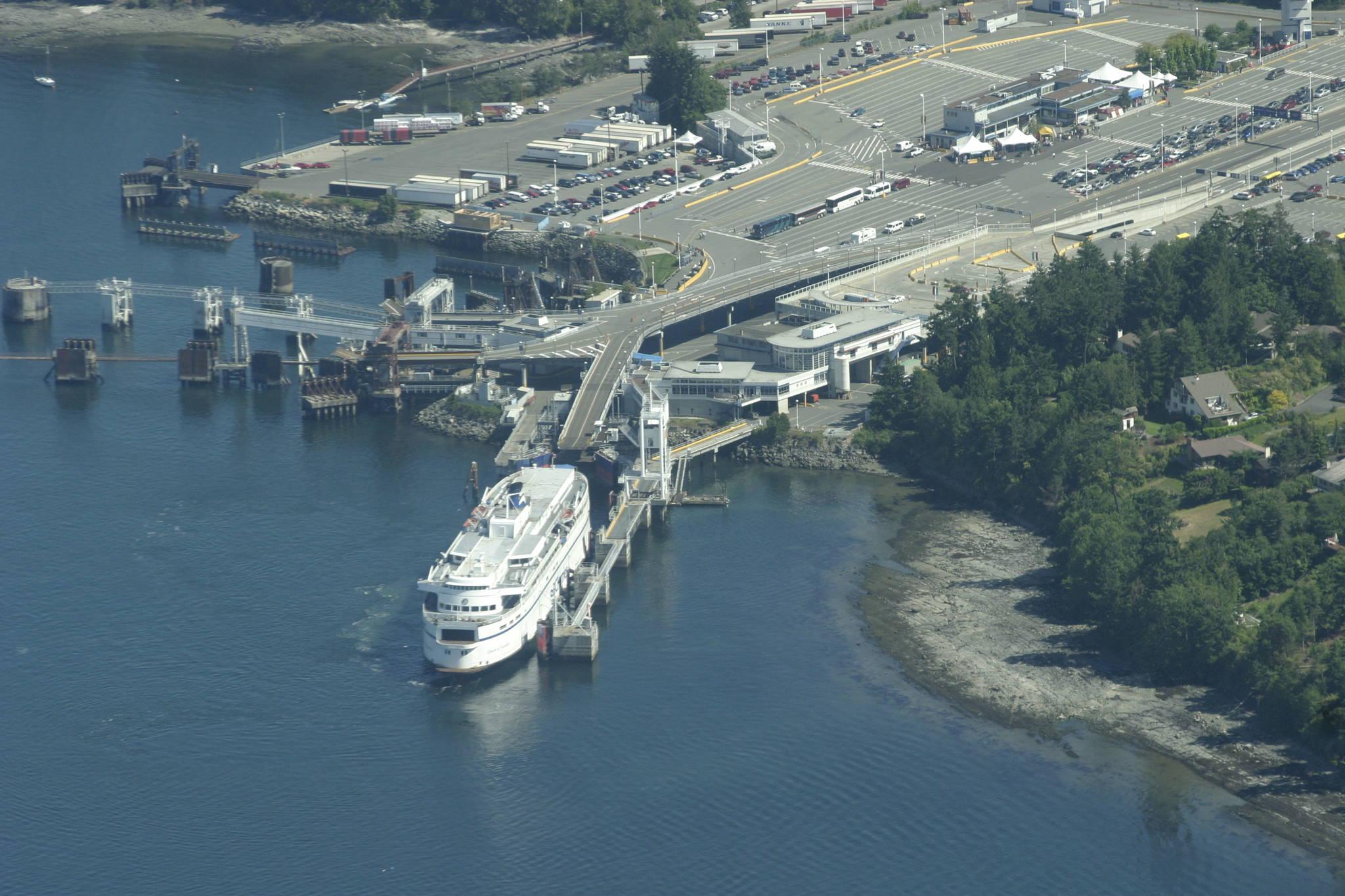 An aerial shot of BC Ferries' Swartz Bay terminal. (Black Press Media file photo)