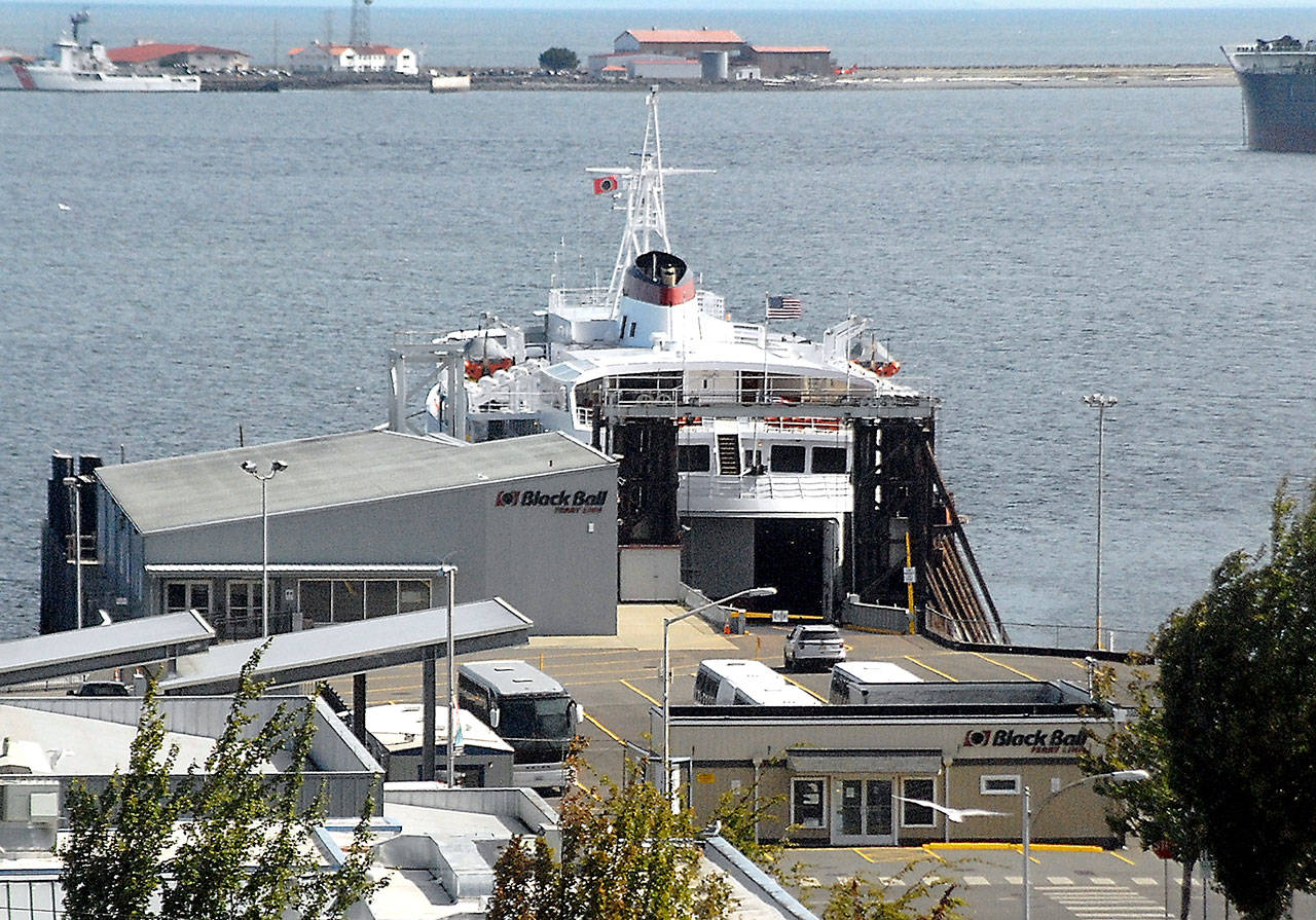 The Coho ferry sits idle at the Black Ball dock in Port Angeles, Wash. (Black Press Media file photo)