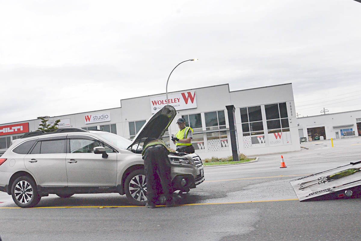 Investigators were still on scene during the morning rush hour after a pedestrian was struck in the early hours of Thursday, Aug. 26, 2021. (Heather Colpitts/Langley Advance Times)