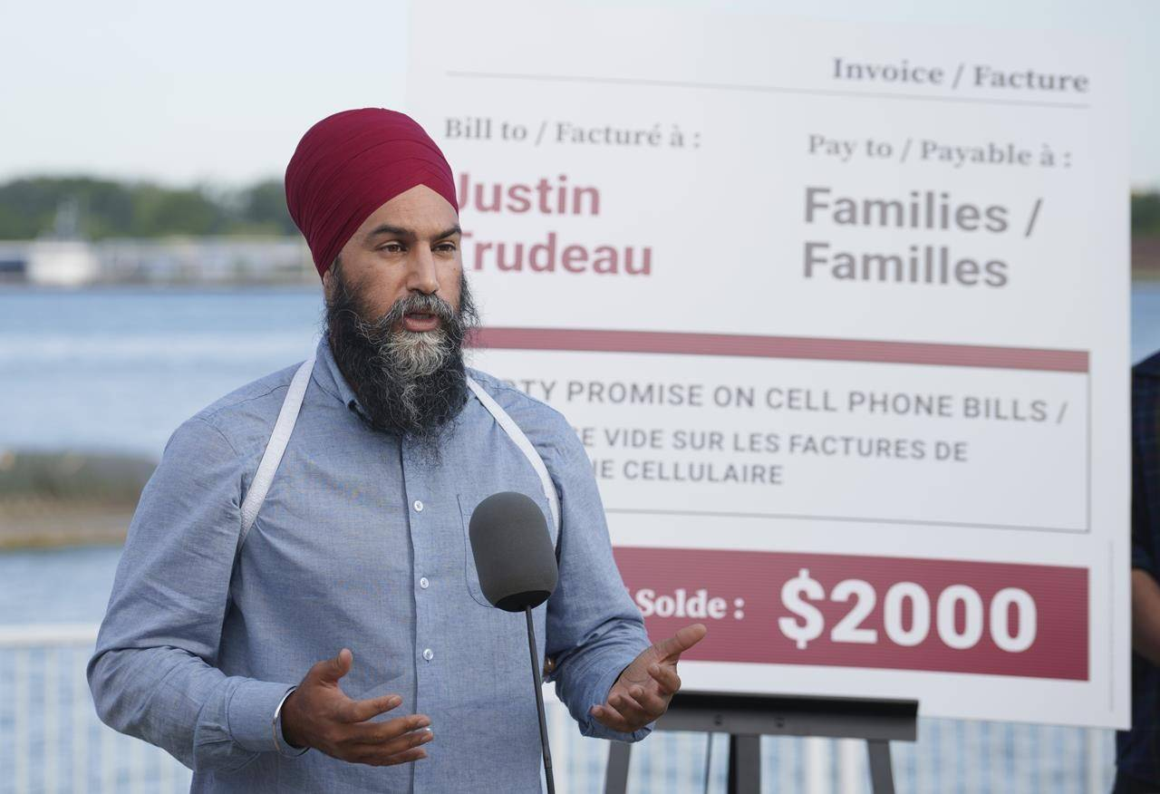 NDP leader Jagmeet Singh responds to a question during a news conference on the waterfront in Windsor, Ontario on Wednesday, August 25, 2021. THE CANADIAN PRESS/Paul Chiasson