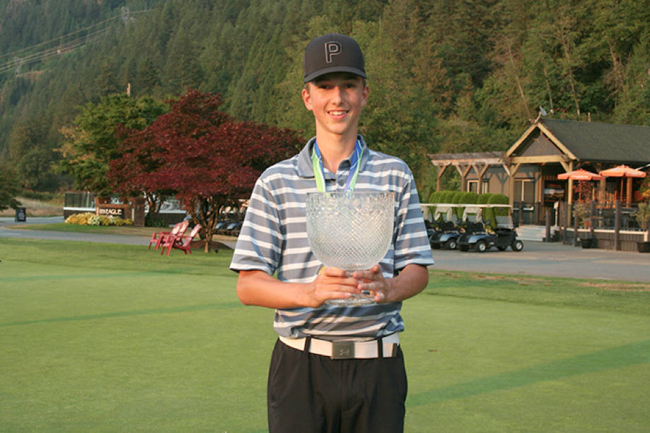 Nanaimo's Matthew Wilson celebrates winning the B.C. Golf juvenile boys' championship earlier this month in Pitt Meadows. (Bryan Outram/B.C. Golf)