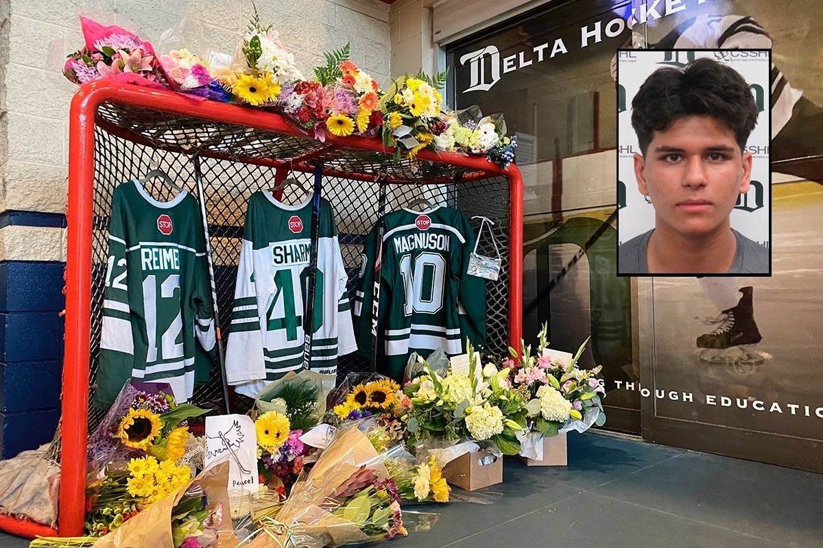 The funeral of Ronin Sharma, 16, will be livestreamed on Saturday, Aug. 28 at 9:30 a.m. Sharma was one of three teens, including 17-year-old Parker Magnuson and 16-year-old Caleb Reimer, who was killed when their vehicle hit a tree in the early hours of Aug. 21 in the 16000-block of 104 Avenue. (Photo: Tom zillich/Inset: Delta Hockey Academy)