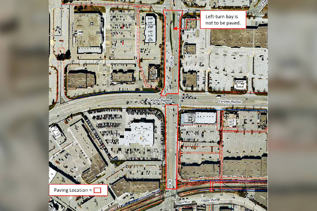 Langley City has posted notice of paving work from Sunday, Aug. 29 to Thursday, Sept. 2. (Langley City graphic)