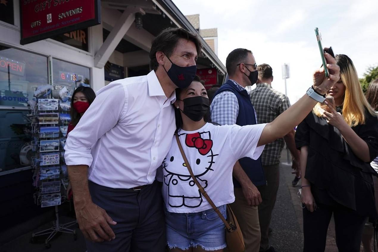 Liberal Leader Justin Trudeau makes a whistle-stop at Fisherman's Wharf in Steveston, Richmond, B.C., on Wednesday, Aug 25, 2021. THE CANADIAN PRESS/Sean Kilpatrick